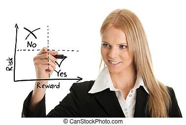 diagrama, mujer de negocios, risk-reward, dibujo