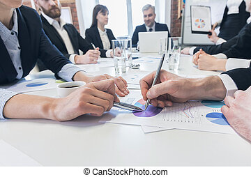 diagrama, negócio, apontar, pessoas