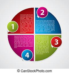 diagrama, numerado, adesivos, coloridos