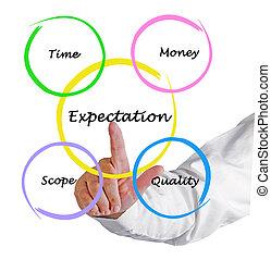 diagrama, presentación, expectativa