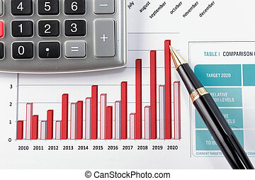 diagrama, relatório, mostrando, financeiro, caneta