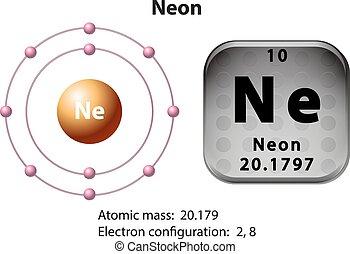 diagrama, símbolo, neón, electrón