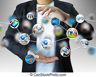 diagrama, tenencia, empresa / negocio, mano