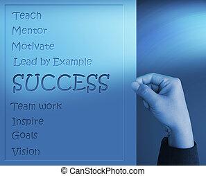 diagrama, tirón, éxito, mano