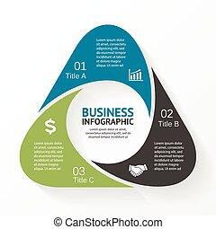 diagrama, triangulo, infographic, opções, 3, parts.