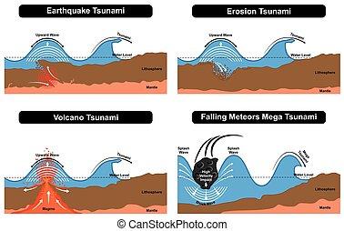 diagrama, tsunami, formación, desastre