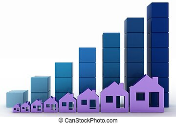 diagrama, verdadero, crecimiento, precios, propiedad