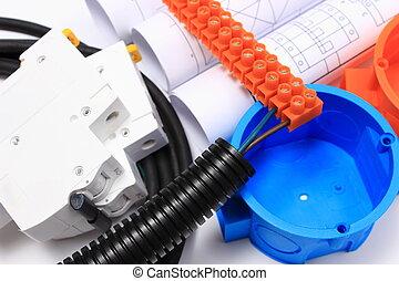 diagramas, componentes eléctricos, instalaciones, rollos