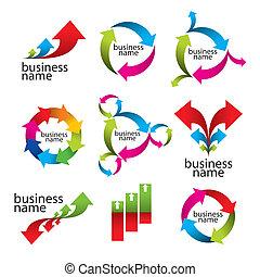 diagramas, vector, flechas, colección, logotipos