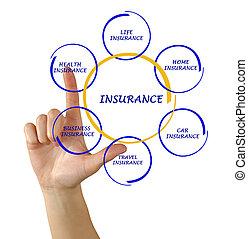 diagramm, frau, präsentieren, versicherung