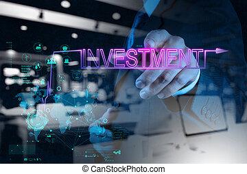 diagramm, geschäftsmann, investition, zeigen, hand