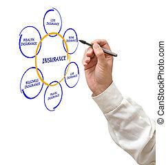 diagramm, präsentieren, versicherung