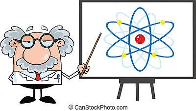 diagramm, professor, atom