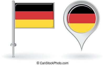 diagramm- stift, deutsch, flag., vektor, zeiger, ikone