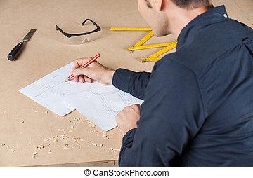 diagramm, Tisch, werkstatt, architekt, Zeichnung