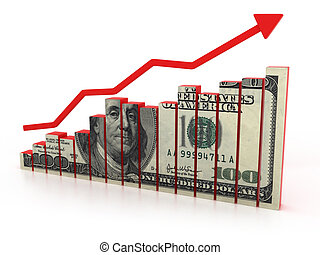 diagramm, wachstum, dollar