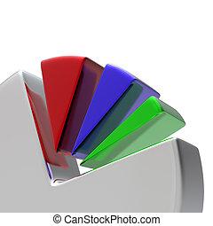 diagramm, weißes, 3d, kreisförmig