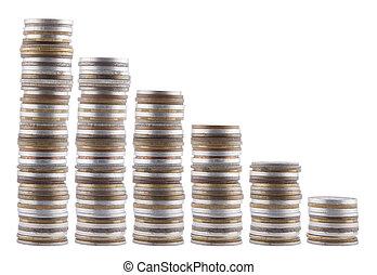 diagramm, weißes, geldmünzen, freigestellt