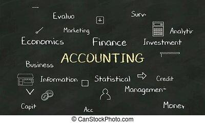 diagramma, 'accounting', concetto, vario, lavagna, scrittura...