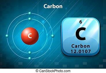 diagramma, carbonio, simbolo, elettrone