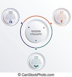 diagramma, circles., 3, infographic, opzioni