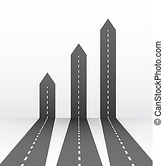 diagramma, concetto, arte, affari, timeline, workflow, map., astratto, grafico, web., illustrazione, creativo, infographic., markings., disegno, autostrada, freccia, strade, viaggio, element., 3d