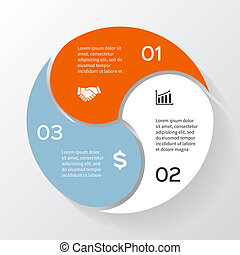 diagramma, concetto, processes., affari, parti, infographic., grafico, chart., fondo., 3, vettore, passi, sagoma, astratto, cerchio, presentazione, o, opzioni