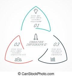 diagramma, concetto, triangolo, lineare, affari, infographic, opzioni, frecce, grafico, chart., parti, 3, vettore, passi, cerchio, ciclo, presentazione, processes.