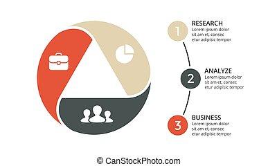 diagramma, concetto, triangolo, processes., affari, infographic, opzioni, frecce, 3, grafico, chart., parti, diapositiva, vettore, passi, cerchio, presentazione, template., ciclo