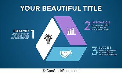 diagramma, concetto, triangolo, processes., affari, infographic, opzioni, frecce, grafico, chart., parti, 3, vettore, passi, cerchio, presentazione, ciclo