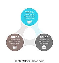 diagramma, concetto, triangolo, processes., affari, infographic, opzioni, frecce, grafico, chart., parti, 3, vettore, metaball, passi, cerchio, presentazione, ciclo