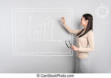 diagramma, donna d'affari, sorridente, intelligente, disegno