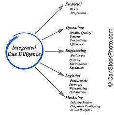 diagramma, dovuto, integrato, diligenza