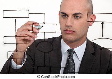 diagramma flusso, calvo, disegno, uomo