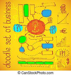 diagramma flusso, infographics, scarabocchiare