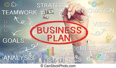 diagramma flusso, mano, piano, affari, disegno