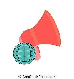diagramma, globo terra, megafono, icona