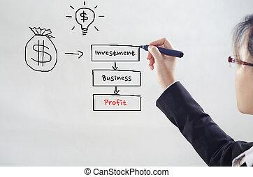 diagramma, investimento, disegno