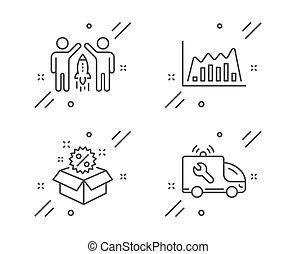 diagramma, linea, icone, discount., affari, segno., associazione, avvio, set., vendita, servizio, infographic, grafico, automobile, vettore