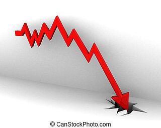 diagramma, mercato, cadere