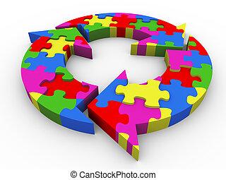 diagramma, puzzle, flusso, 3d