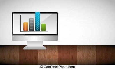 diagramma, statistico, su, monitor, computer, monete, e,...