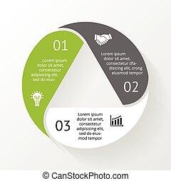 diagramma, triangolo, infographic, 3, passi, opzioni