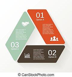 diagramma, triangolo, infographic, opzioni, 3, steps.