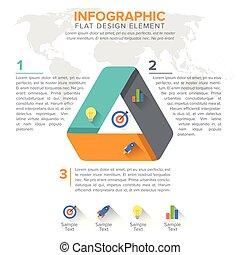 diagramma, triangolo, opzioni, triangolare, chart., 3, disegno, passi, parts., element.