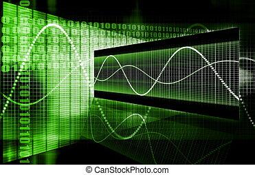 diagramma, verde, corporativo, dati