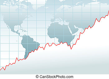 diagramme, économie globale, croissance financière, carte