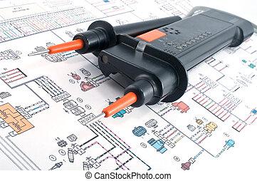 diagramme, électrique, testeur tension