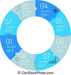 diagramme, étape, infographic, cercle, business