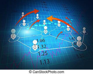 diagramme action, business, échange, mondiale